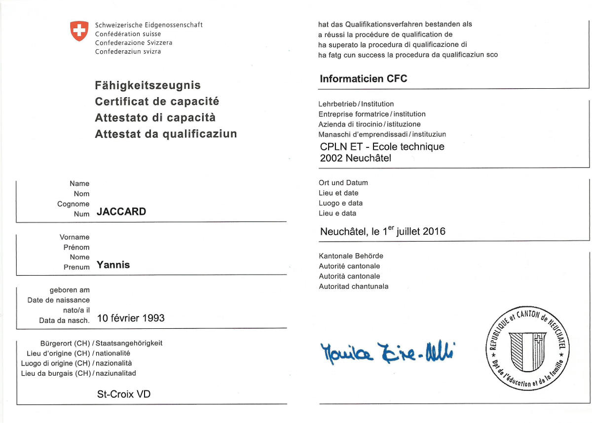 Main page of the certificate